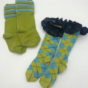 2 Pair of Matilda Jane Socks Size S Lace Argyle